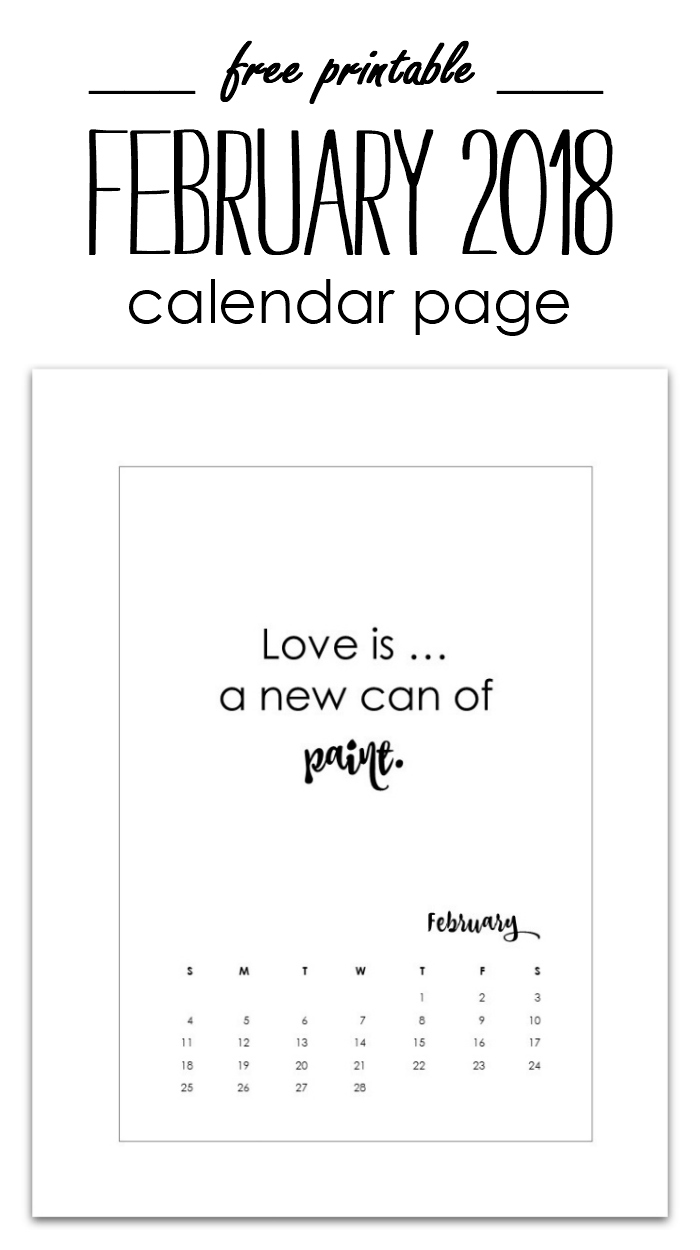 February Calendar Page Printable - Free Calendar Page 2018