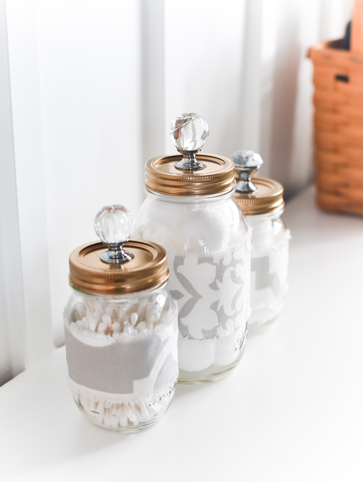 Mason Jar Cozies Bathroom Storage - Mason Jar Gold Lids with Crystal Glass Knobs