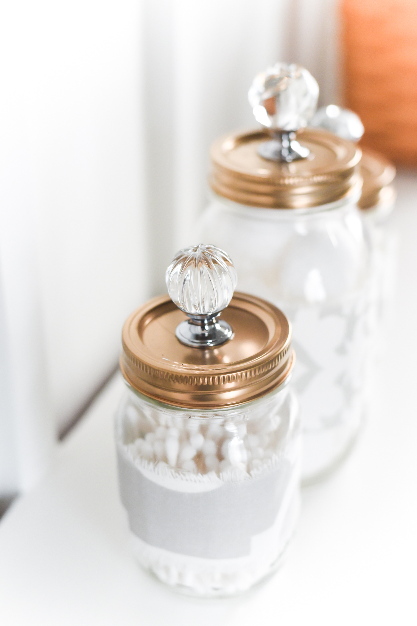 Mason Jar Gold Lids with Crystal Glass Knobs - Mason Jar Bathroom Storage