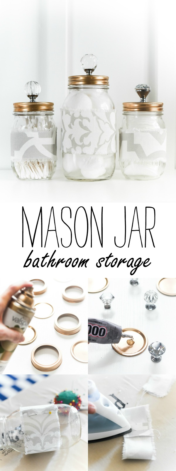Mason Jar Cozies Bathroom Storage - Mason Jar Bathroom Storage - Mason Jars with Gold Lids Crystal Glass Knobs