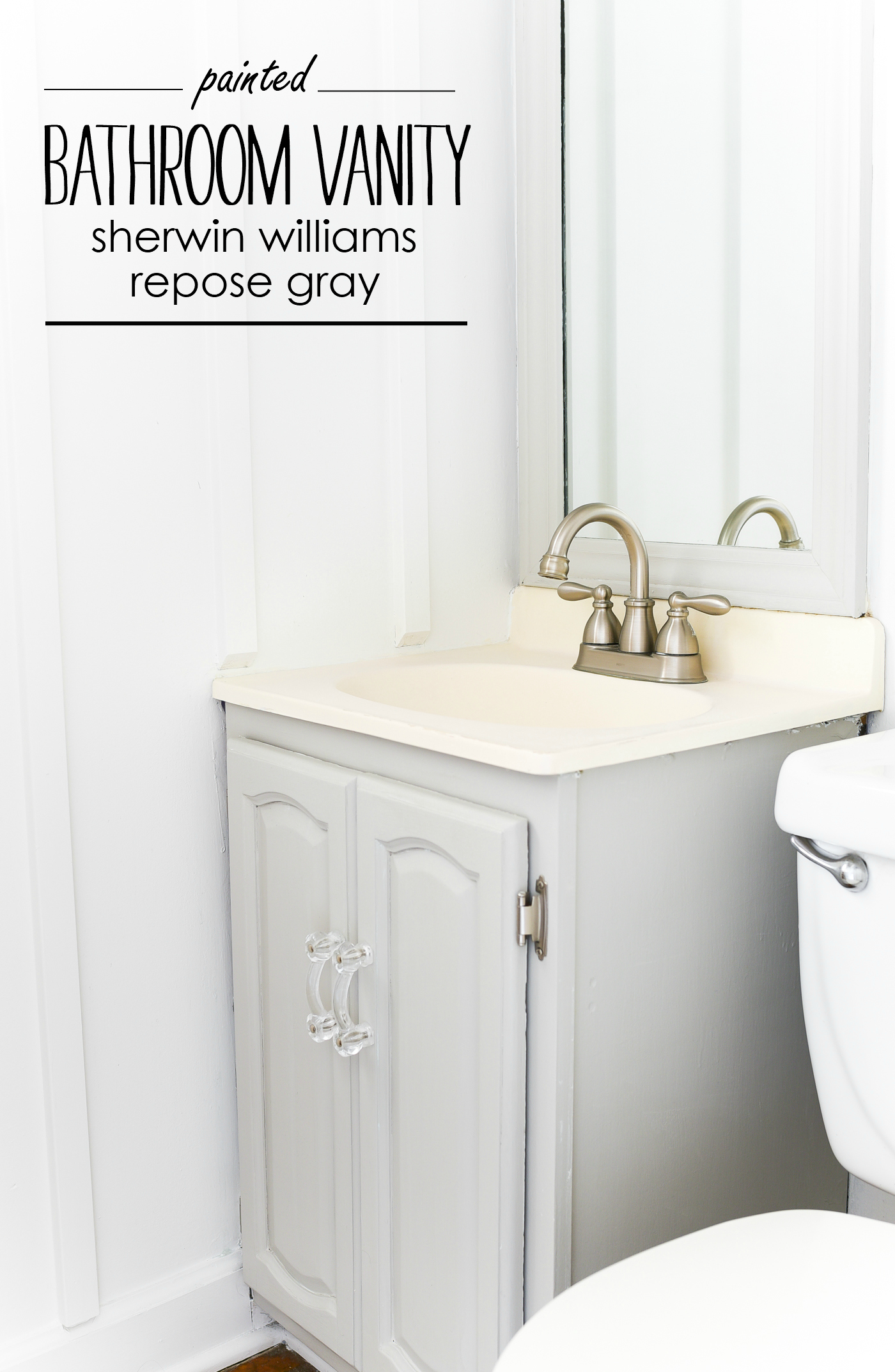 Painted Gray Bathroom Vanity Cabinet Sherwin Williams Repose