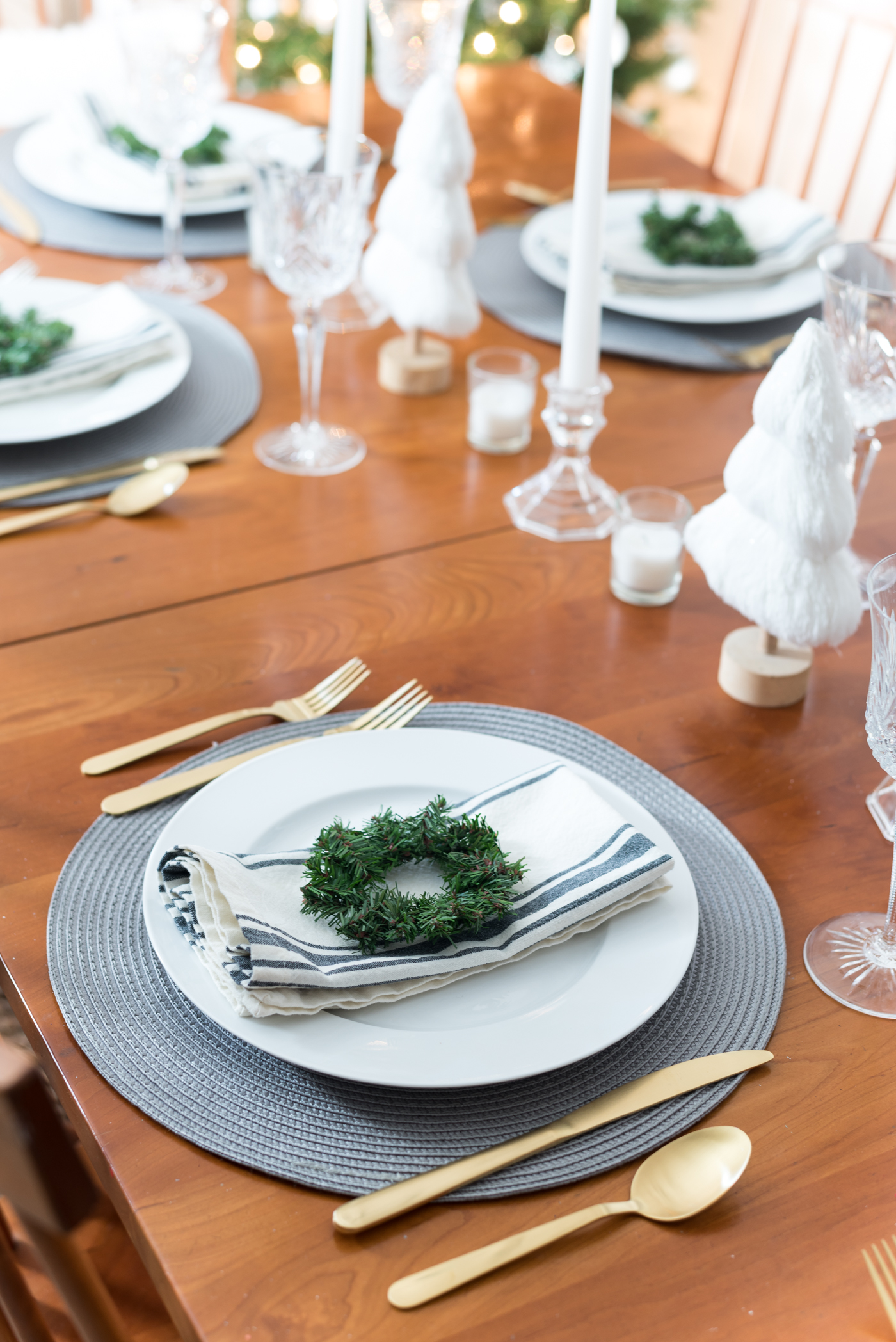 Gray white striped napkins linen