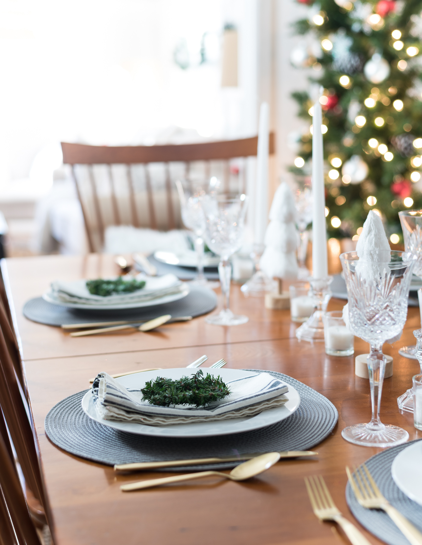 Holiday Table Setting in Gray, White