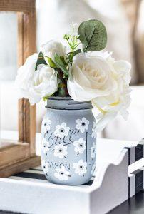 White Poppy Painted Mason Jar
