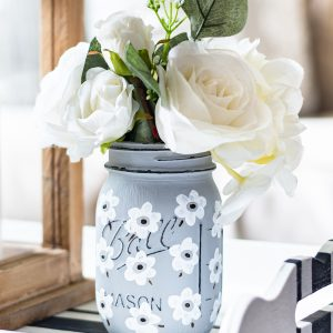 White Poppy Painted Mason Jar