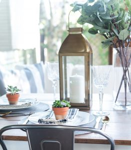 Summer Table Setting in Gray, White, Gold