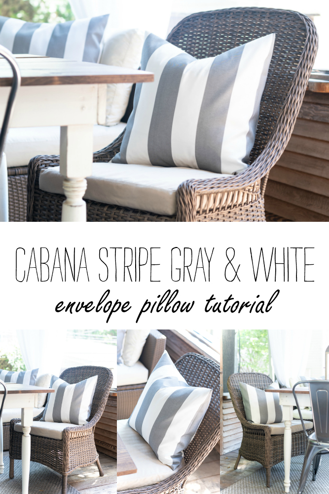Cabana Stripe Fabric - Gray and White Cabana Striped Fabric - Pillow Cover Tutorial - How To Make and Envelope Pillow Cover