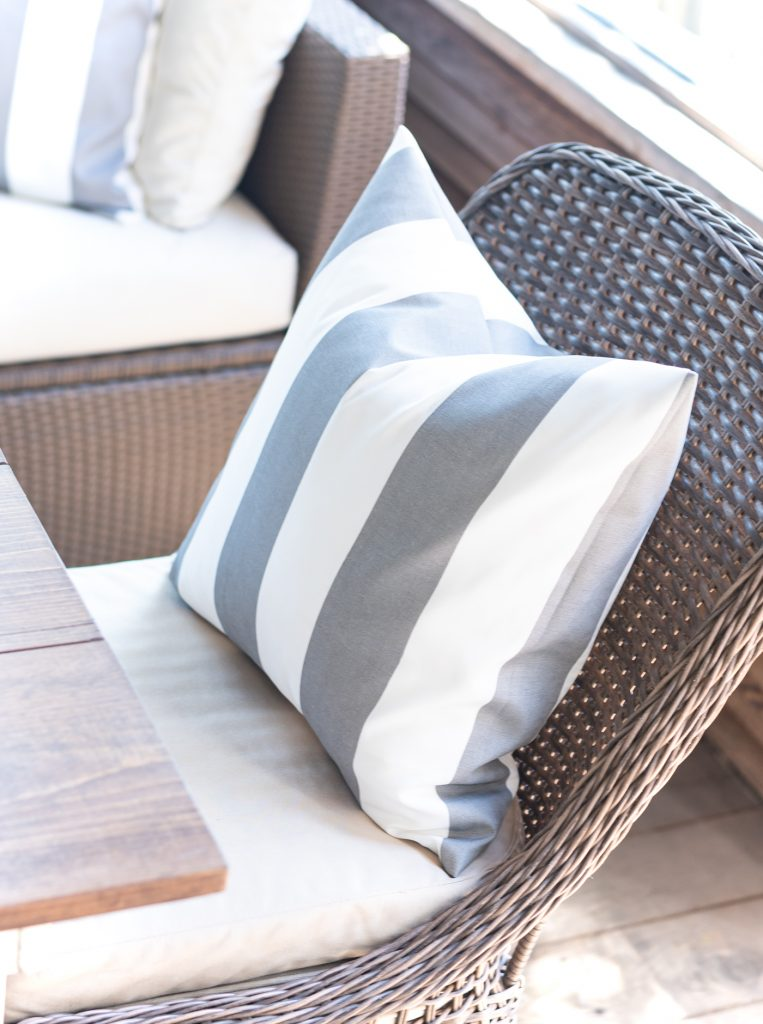 Cabana Stripe Pillow in Gray and White