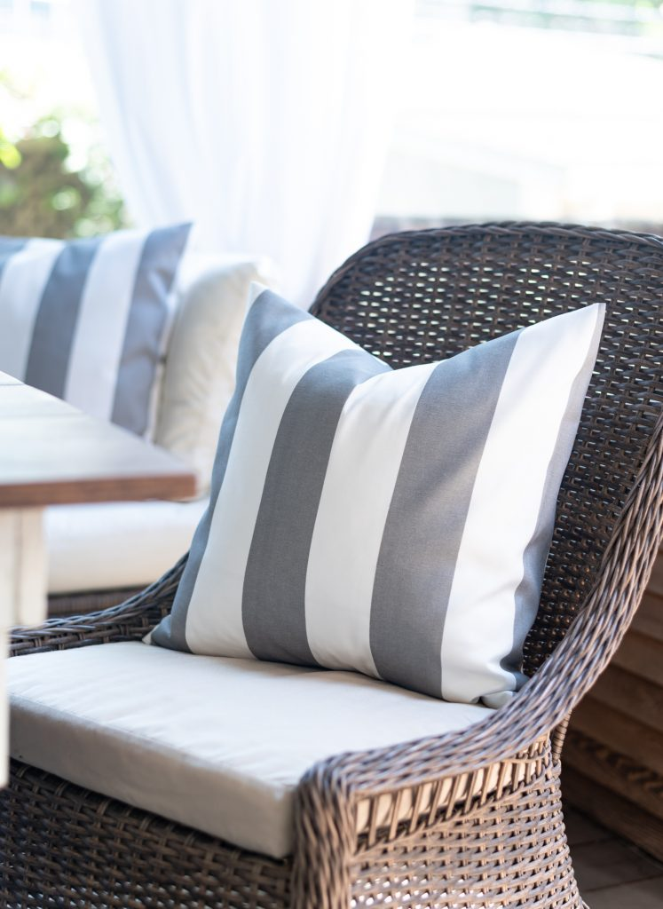 Cabana Stripe Gray & White Envelope Pillow Tutorial