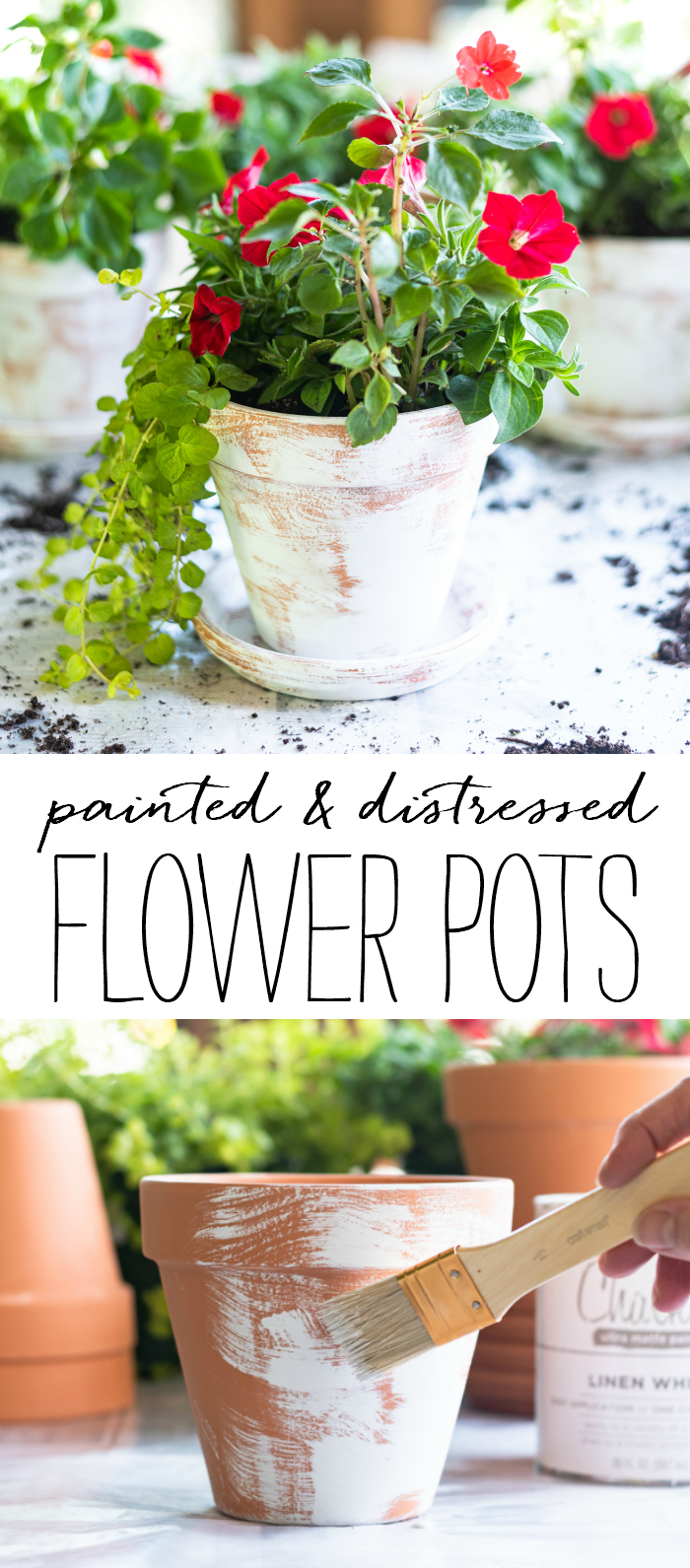 Easy Distressed Terracotta Pots - How To Age Flower Pots with Chalk Paint - DIY Aged Terracotta Flower Pots