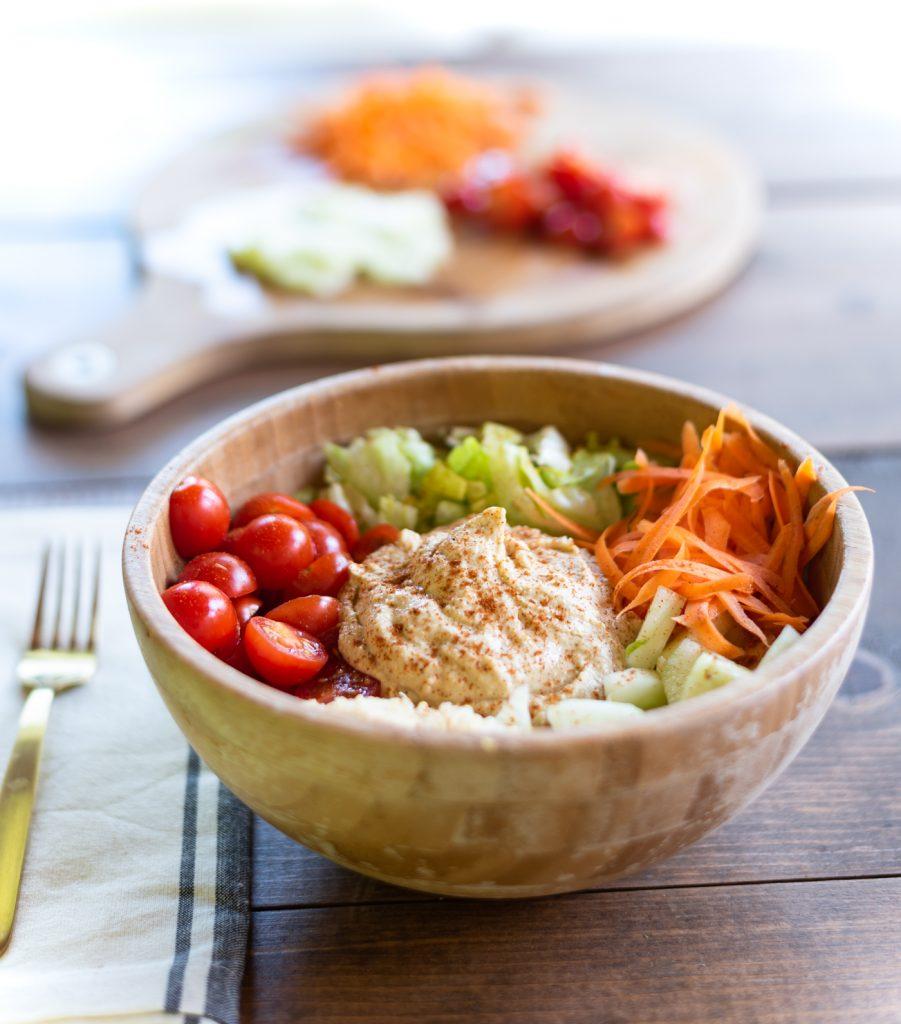 Mediterranean Vegetarian Quinoa & Hummus Buddha Bowl