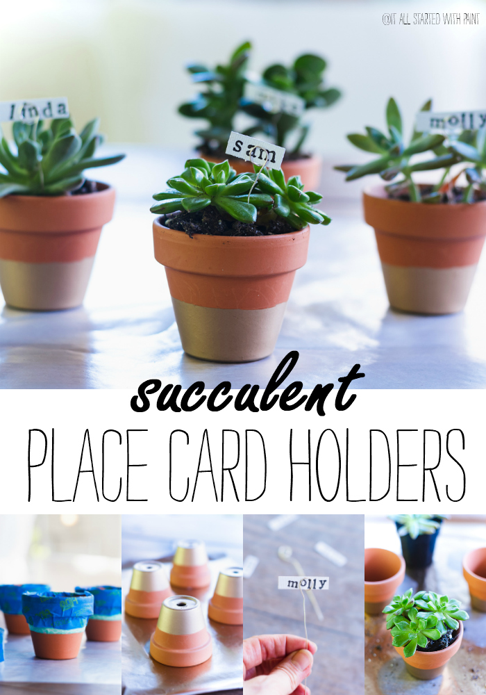 Succulent Place Card Holders - Gold Dipped Mini Terracotta Pots Place Card Holders - How to Make Simple Place Card Holders for Summer Table Setting