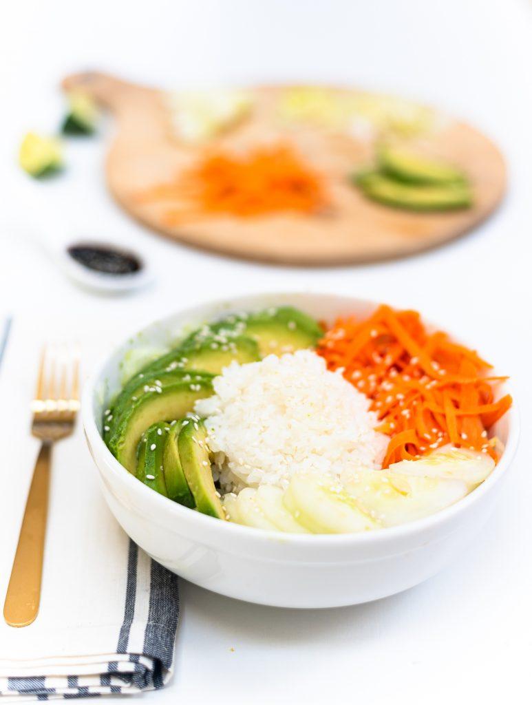 Vegetarian California (un)Roll Buddha Bowl Salad - Sushi Salad Recipe - Sushi Salad Buddha Bowl - Asian Salad Buddha Bowl