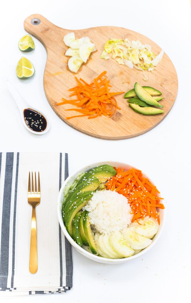 Vegetarian California (un)Roll Buddha Bowl Salad - Sushi Salad Recipe - Sushi Salad Buddha Bowl - Asian Salad Buddha Bowl