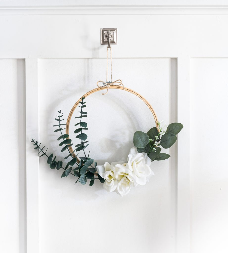 Embroidery Hoop Wreath DIY - How To Make Embroidery Hoop Wreath With Faux Eucalyptus & White Roses.