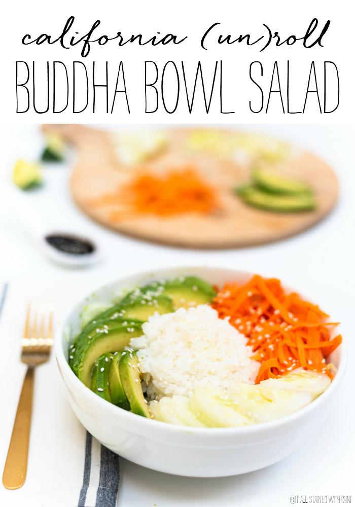 Vegetarian California Roll Buddha Bowl Salad - Sushi Salad Recipe - Asian Salad Recipe with Sushi Rice, Avocado, Carrot, Cucumber, Sesame Seeds and Seasoned Rice Vinegar