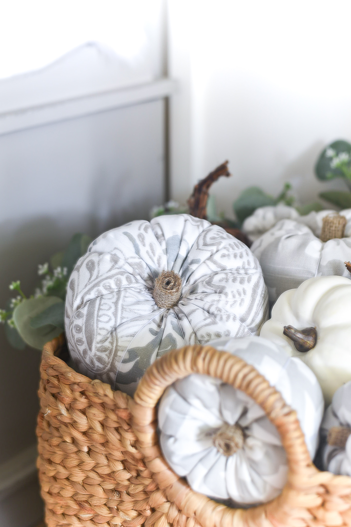 Fabric Pumpkins -Gray White Fabric Stuffed Pumpkins - DIY Fabric Pumpkins - How To Make Fabric Stuffed Pumpkins