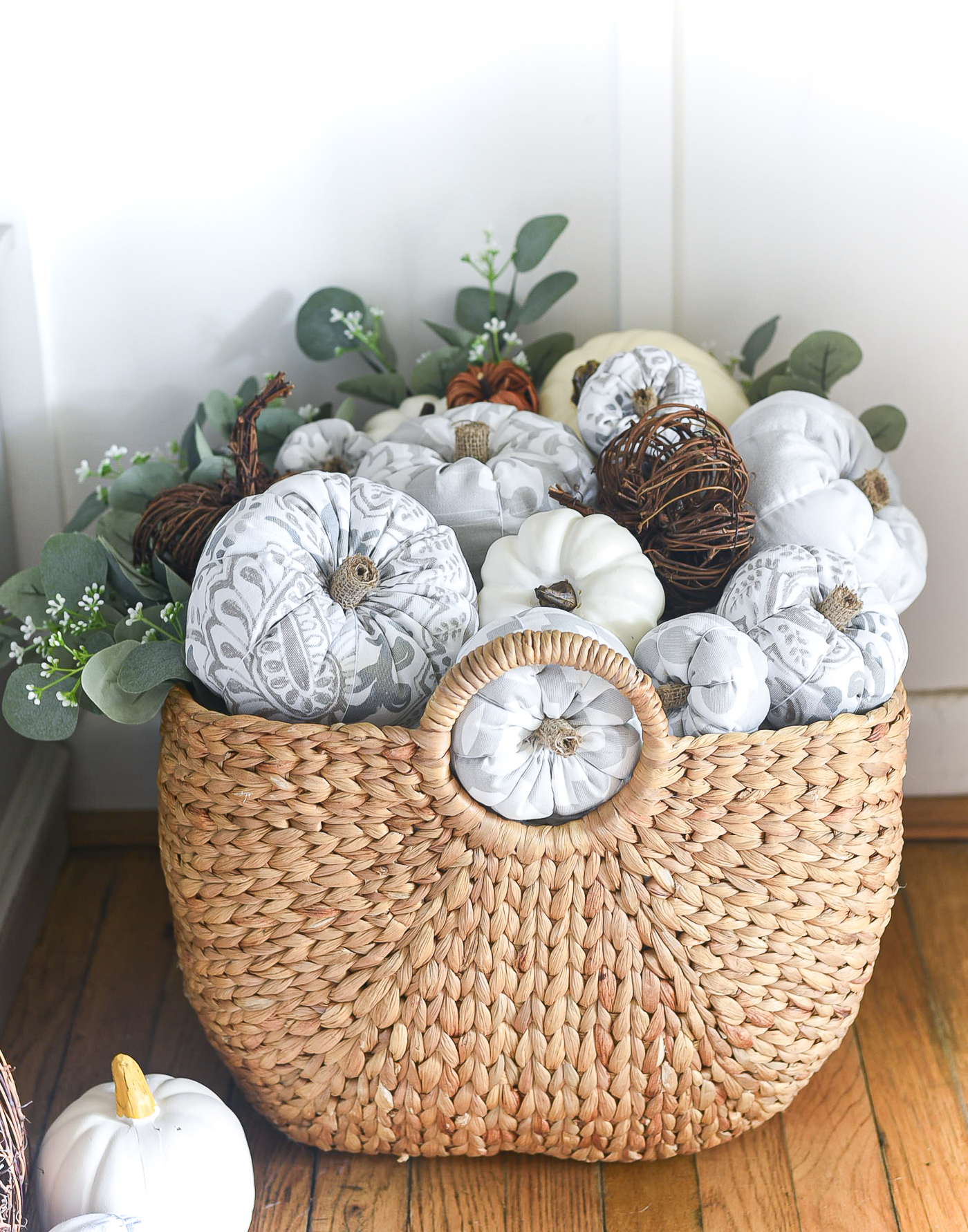 How To Make Fabric Stuffed Pumpkins - Gray White Greige Fabric Pumpkins DIY