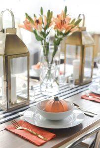 Fall Table Setting in Orange, Black & White