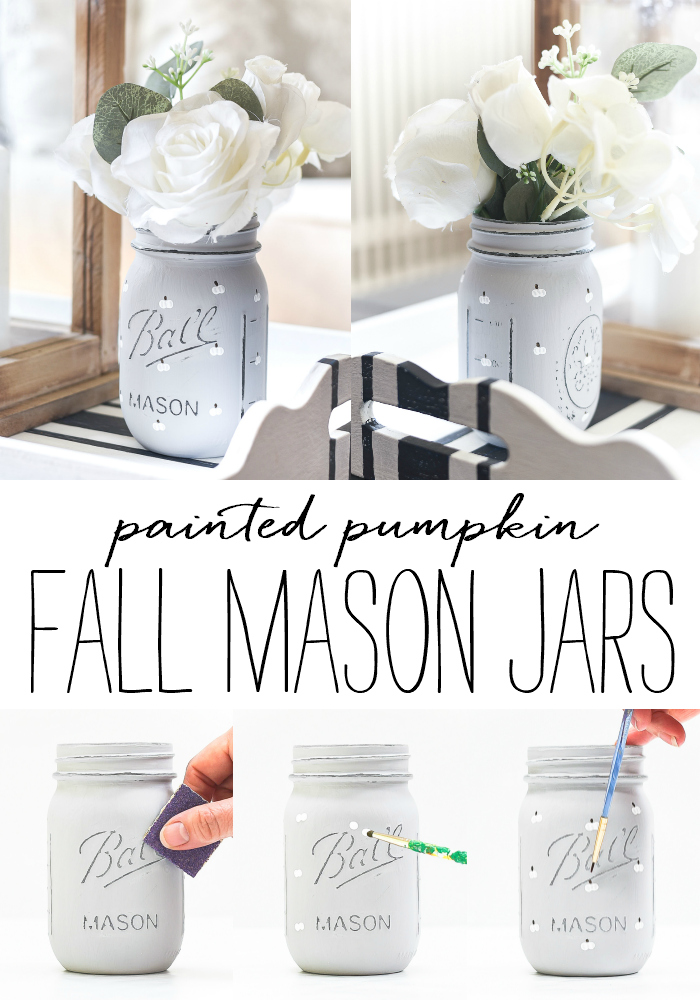 White Painted Pumpkin Mason Jar - Painted Mason Jar Craft for Fall - Fall Crafts using Mason Jars - Pumpkin Crafts.