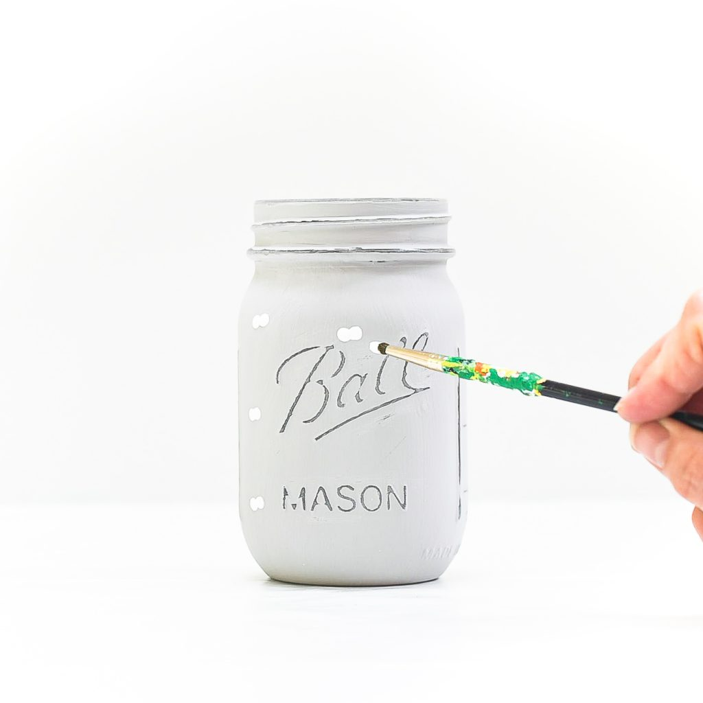 How To Paint Mason Jars - How To Paint Pumpkins on Mason Jars - White Painted Pumpkins on Mason Jars