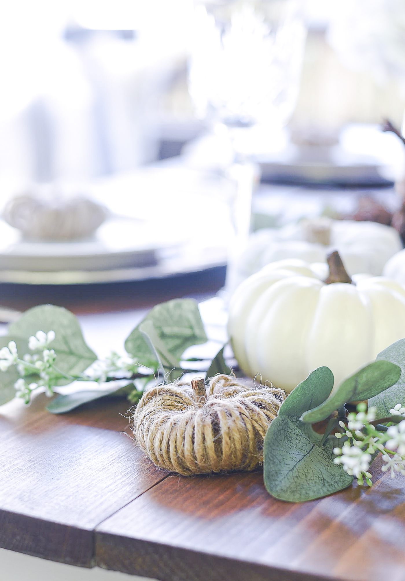 Thanksgiving Table Setting Idea - Pumpkin Centerpiece Idea - Pumpkin Table Setting Idea - Fall Table Setting in Gray, White, Jute, Neutral -