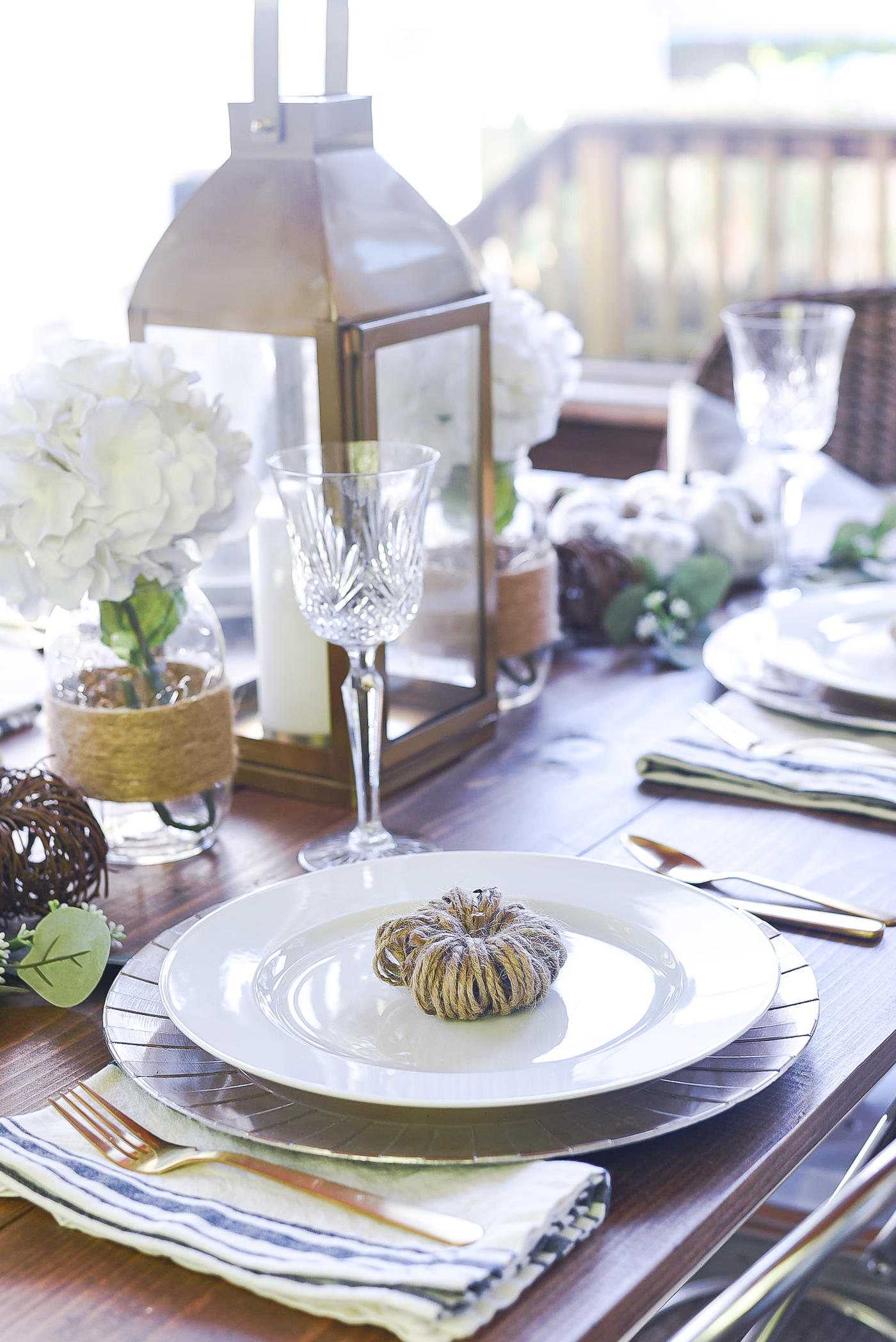 Fall Table Setting in Gray, White, Jute, Neutral - Thanksgiving Table Setting