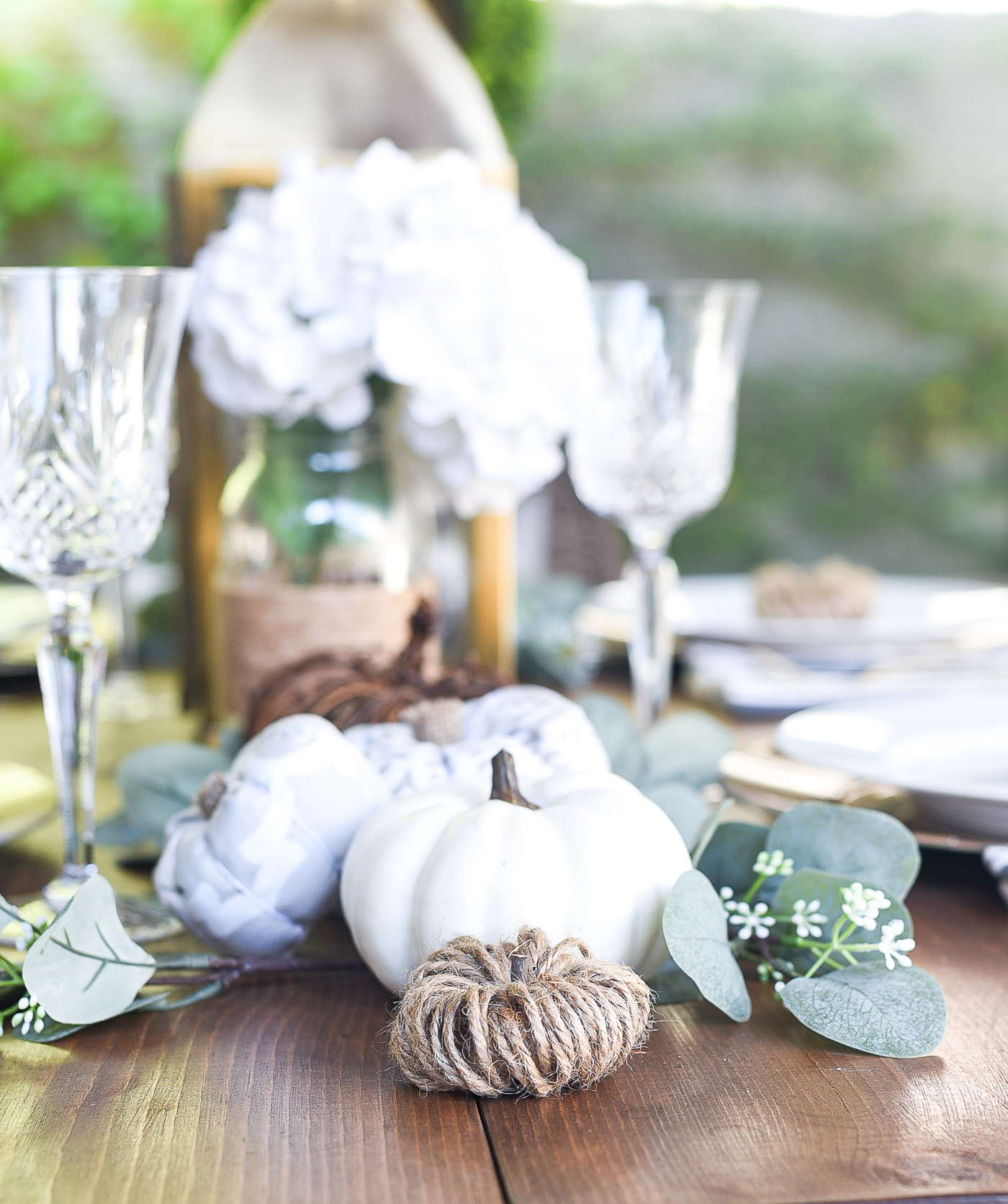 Fall Table Setting in Gray, White, Jute, Neutral - Thanksgiving Table Setting Idea - Pumpkin Centerpiece Idea - Pumpkin Table Setting Idea
