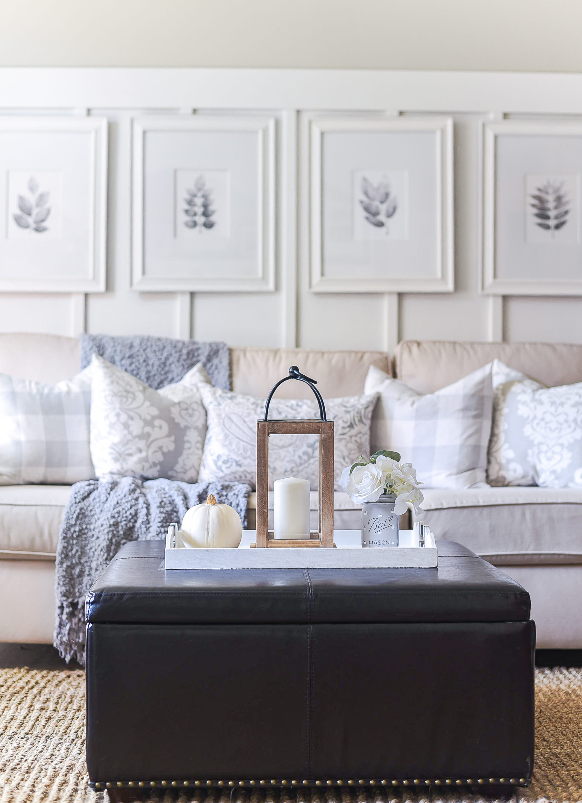 Fall in the Living Room - Neutral Fall Decor in White, Gray, Jute, Greige