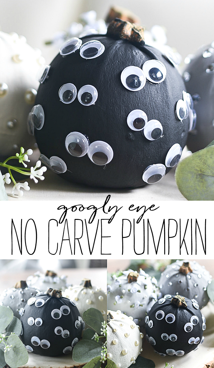 Googly Eye Pumpkin. No Carve Pumpkin with Paint and Googly Eyes.