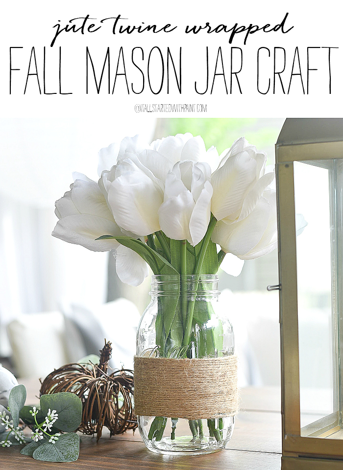 Twine Wrapped Mason Jars - Jute Wrapped Mason Jar Craft - Fall Crafts with Mason Jars - Easy Fall Crafts - Twine Craft Ideas - Jute Craft Ideas