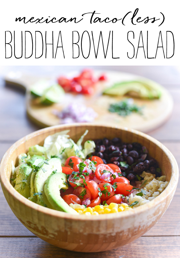 Mexican Taco(less) Buddha Bowl - Taco Salad Recipe Ideas - Mexican Buddha Bowl - Brown Rice and Beans Buddha Bowl Recipe Ideas