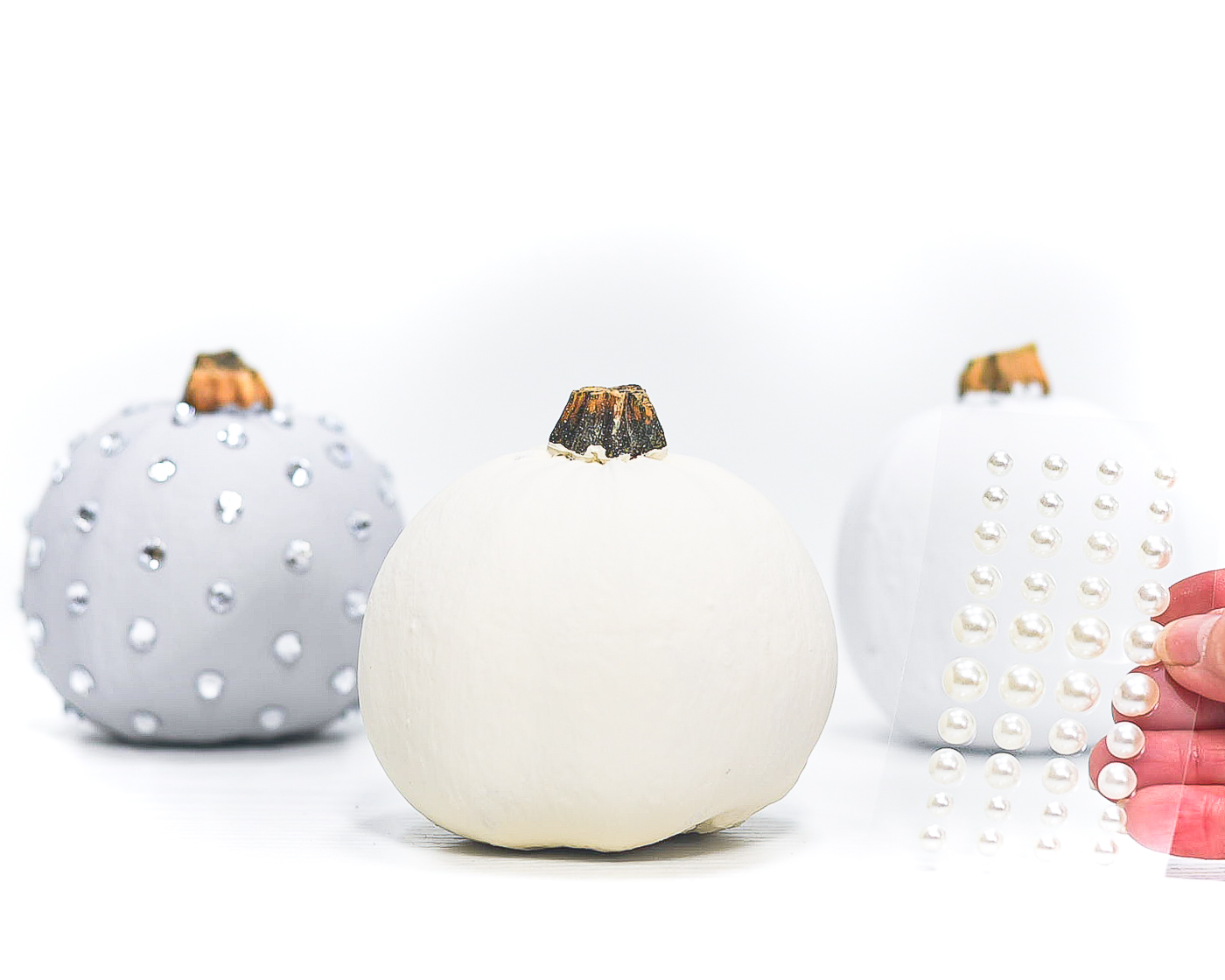 No Carve Jeweled Pumpkins - Rhinestones on Pumpkins - Bling Pumpkins - Glam Pumpkins - Painted Pumpkins.