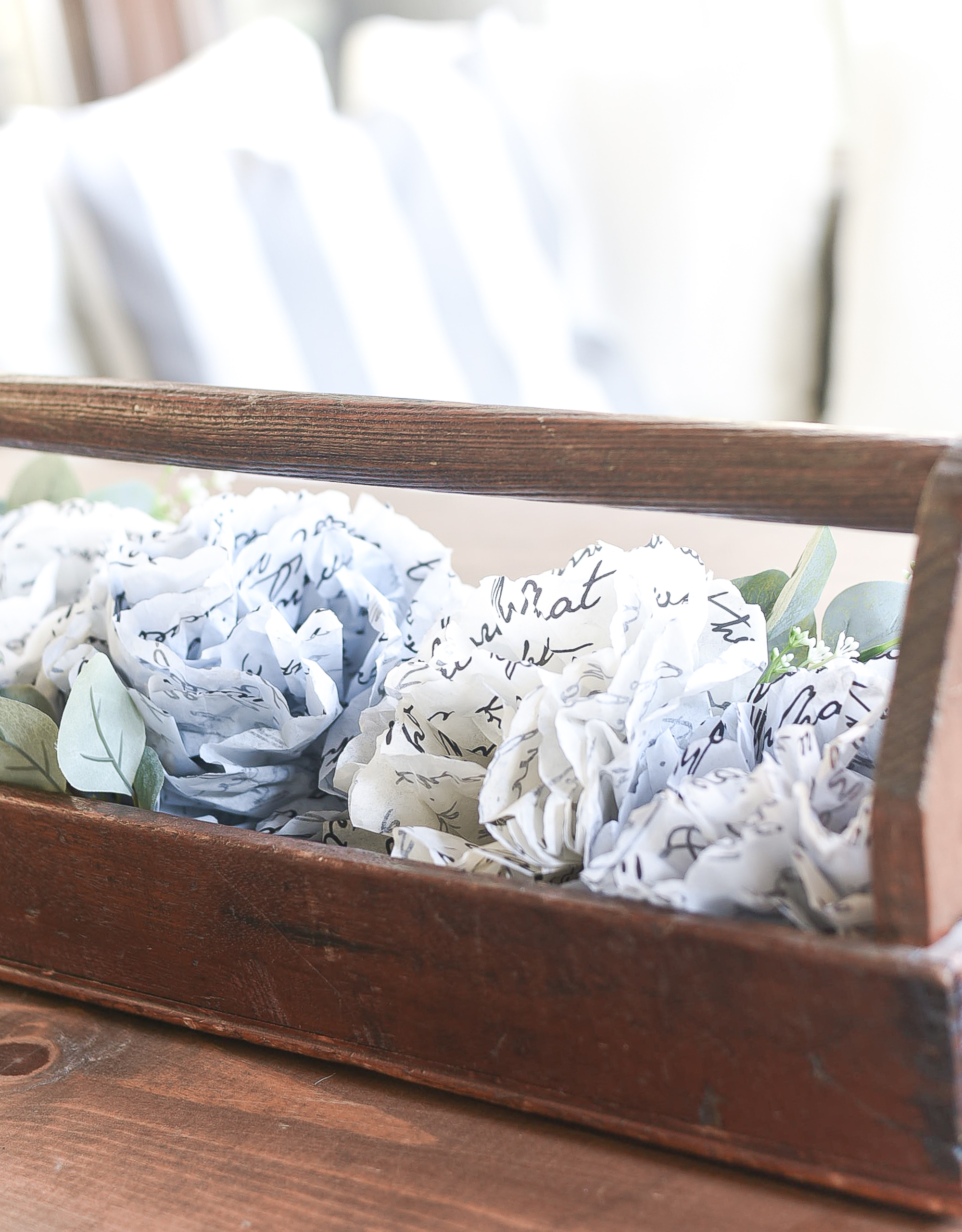 Tissue Paper Flowers DIY - How to Make Tissue Paper Flowers - Script Tissue Paper in Gray, Off White