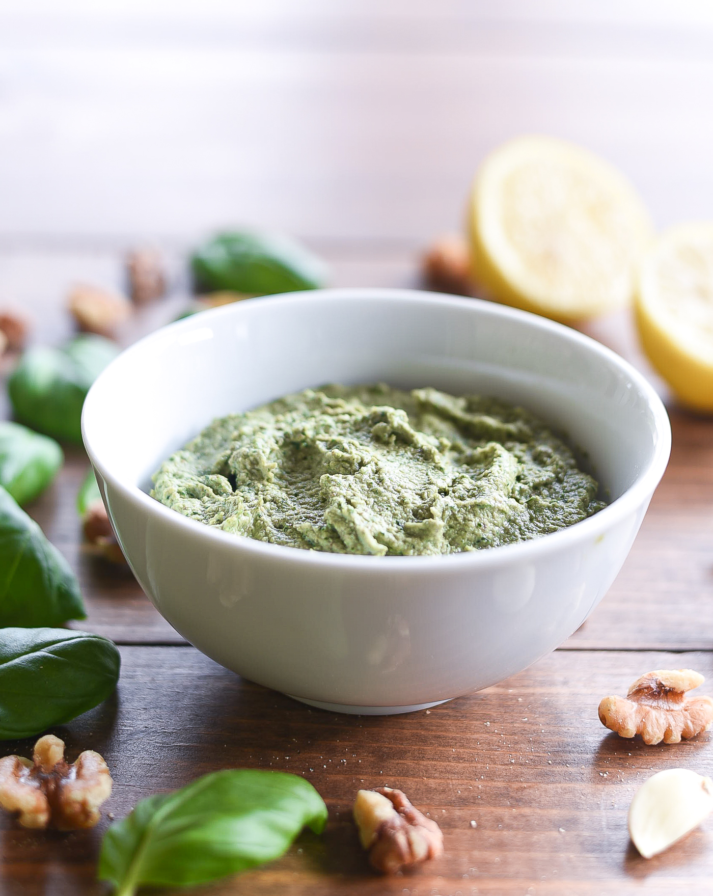 Vegan Pesto with Walnuts. Easy pesto recipe. Healthy pesto recipe. How to make pesto.