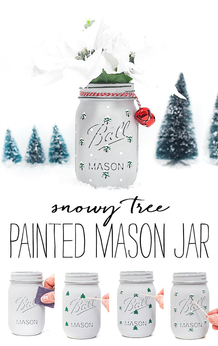 Snowy Tree Painted Mason Jar - Winter Mason Jar Crafts - Christmas Tree Mason Jar. Painted snowy tree mason jar. Christmas tree mason jar craft. How to paint evergreen trees on mason jars. How to paint snowy Christmas trees. Winter craft mason jar.