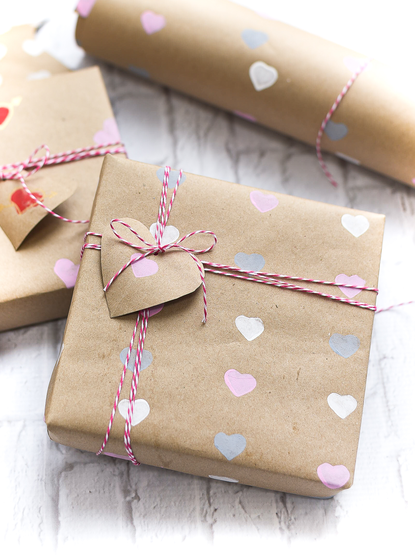 Valentine Day Wrapping Paper DIY - Homemade Wrapping Paper Tutorial for Valentine - Heart Wrapping Paper Made with Heart Stamps.