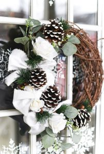 Winter Wreath with Painted Pine Cones & Buffalo Check Bows