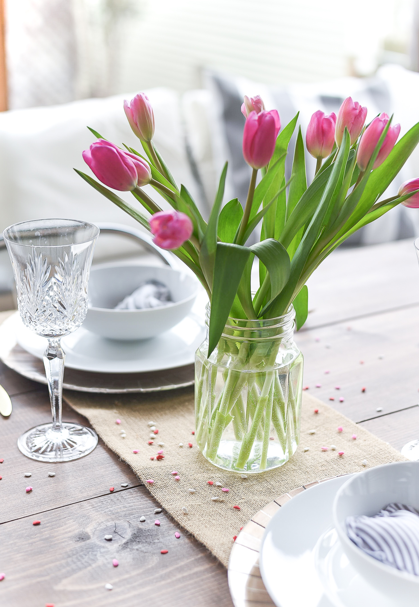 Simple, Neutral Valentine Table - Valentine Table Setting in Gray, White, Pink