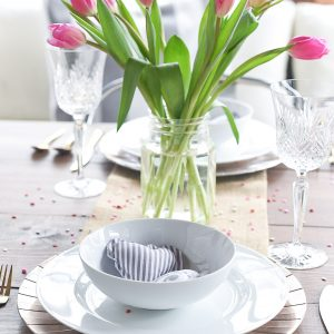 Simple, Neutral Valentine Table for Two