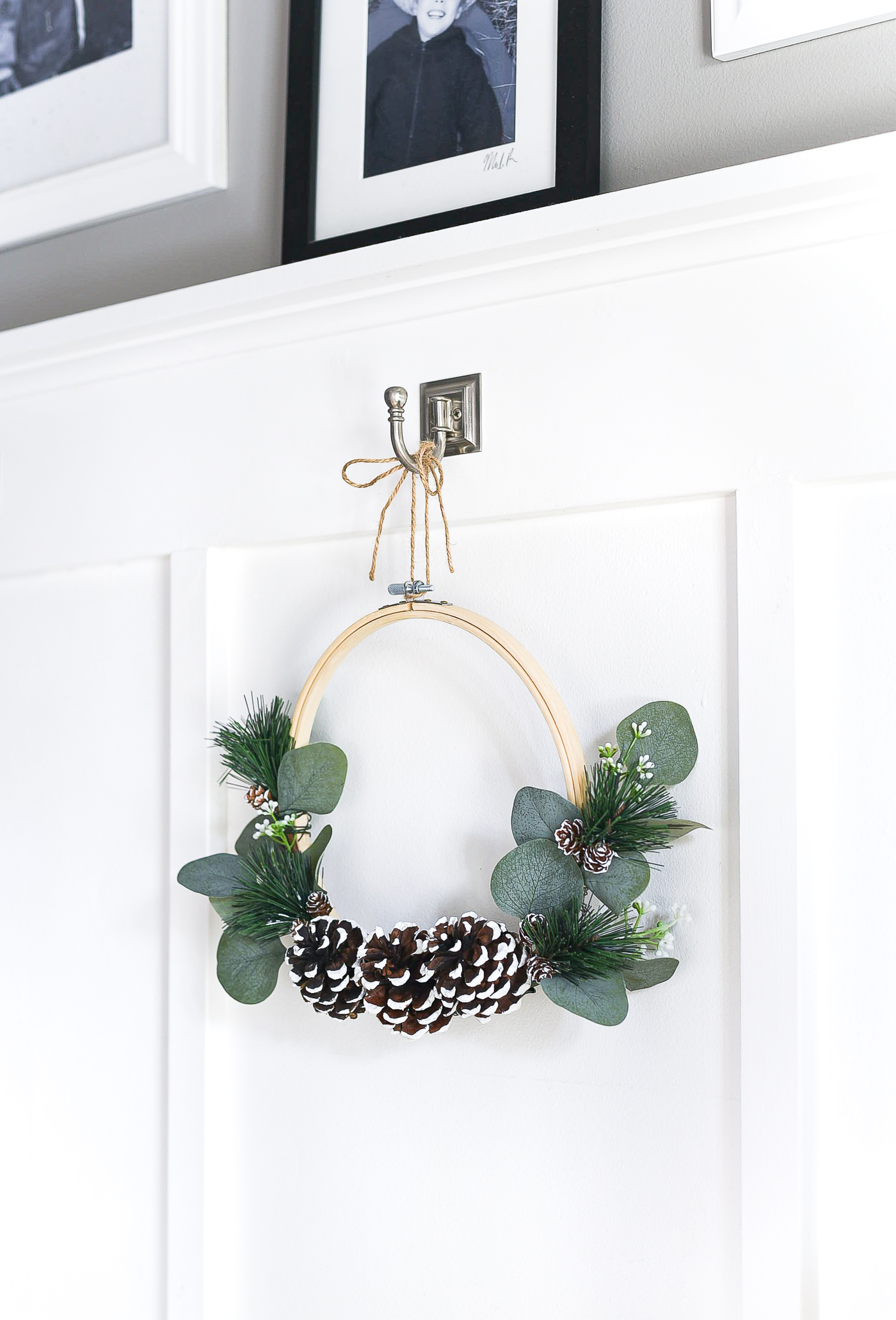 Embroidery Hoop Winter Wreath - Wreath Ideas with Embroidery Hoops - Winter Wreath Crafts - DIY - How To Make Embroidery Hoop Wreath