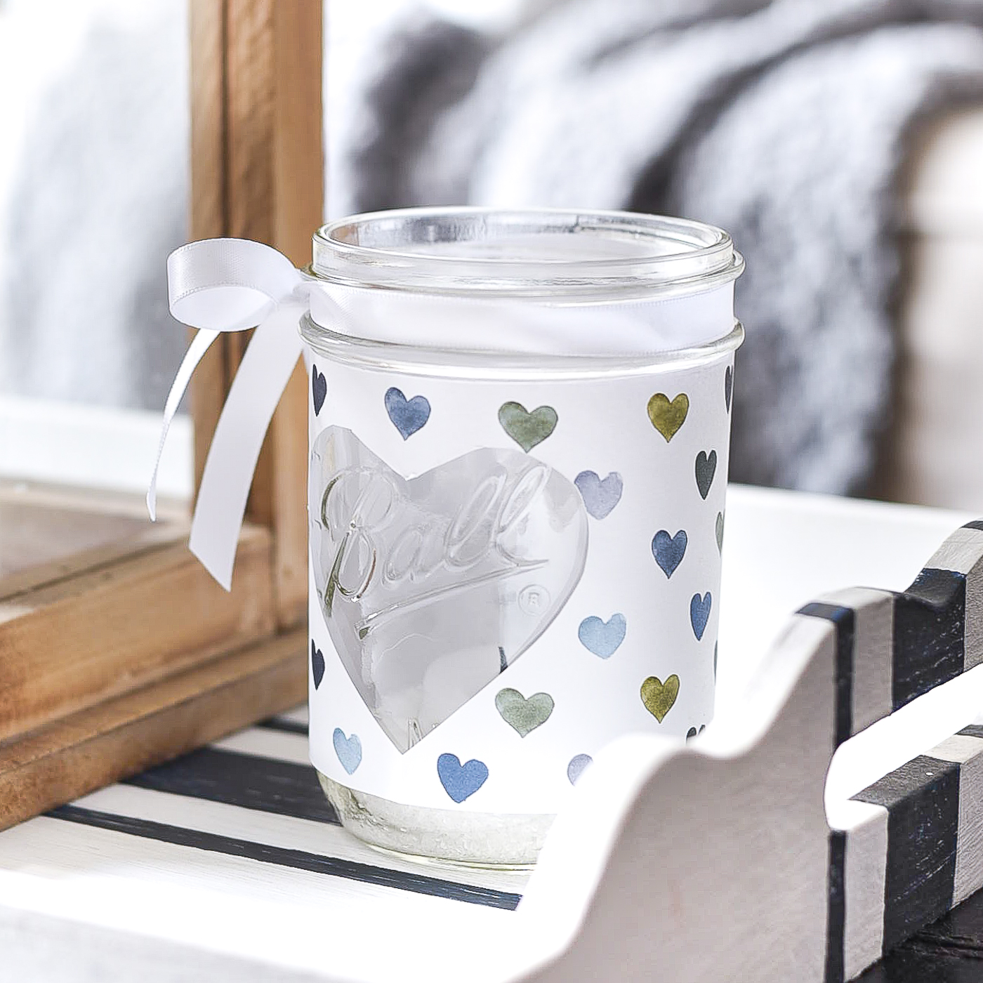 Heart Cut Out Mason Jar Votive - Easy Valentine Craft with Mason Jars and Scrapbook Paper