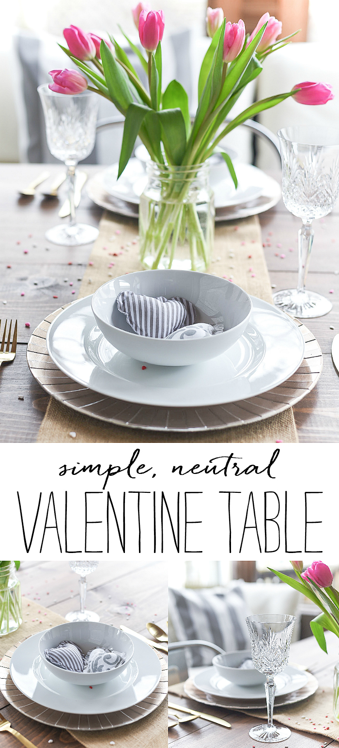 Neutral Valentine Table - Gray, White, Burlap, Gold Valentine Table Setting and Decor - Simple, Neutral Valentine Table - Valentine Table Setting in Gray, White, Pink