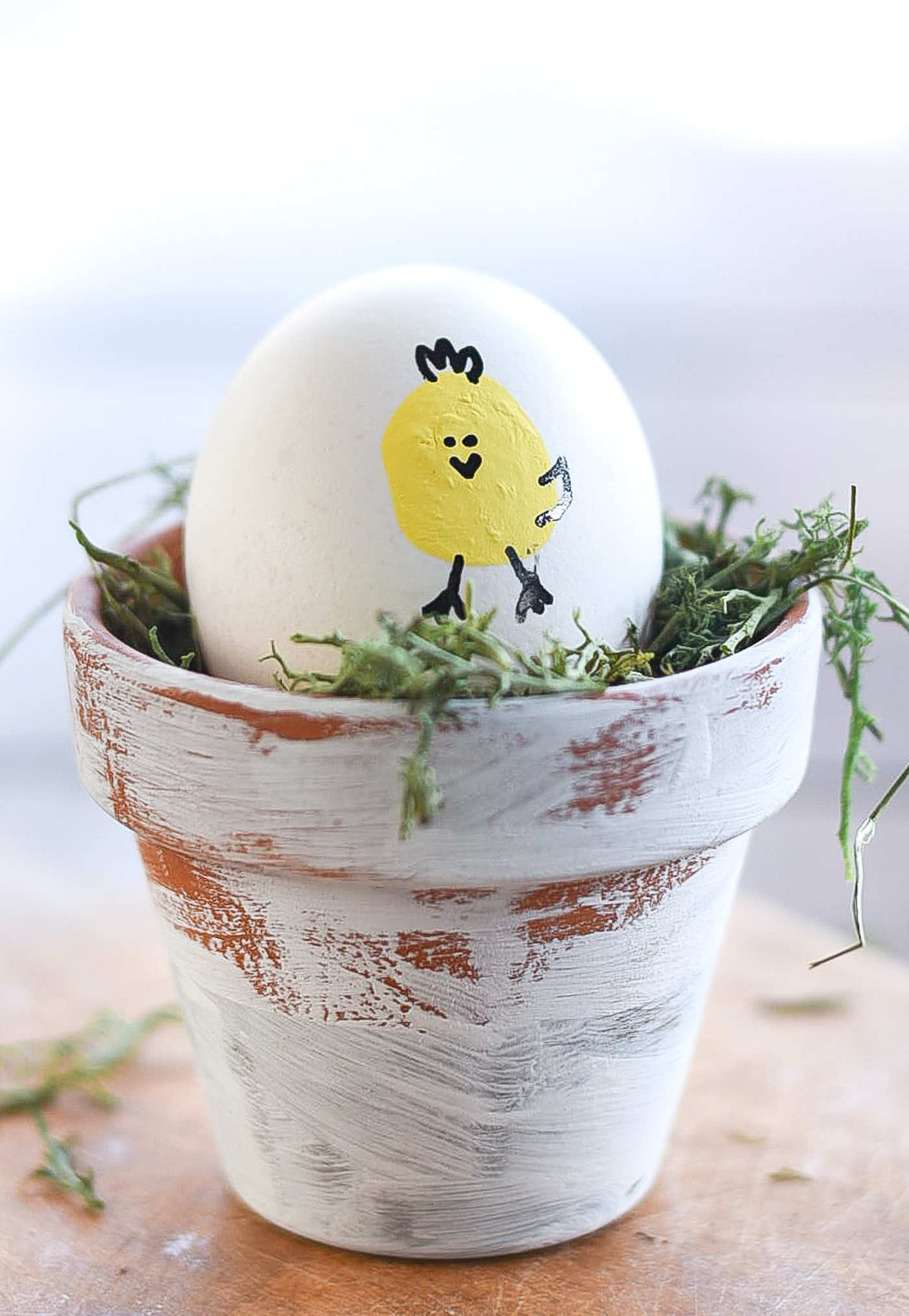 Thumbprint Chick Easter Eggs. Decorating Eggs with Paint. Easter Egg Decorating Ideas.