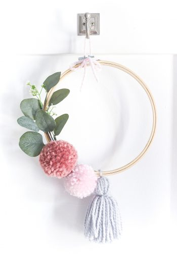Pom Pom Embroidery Hoop Wreath for Spring
