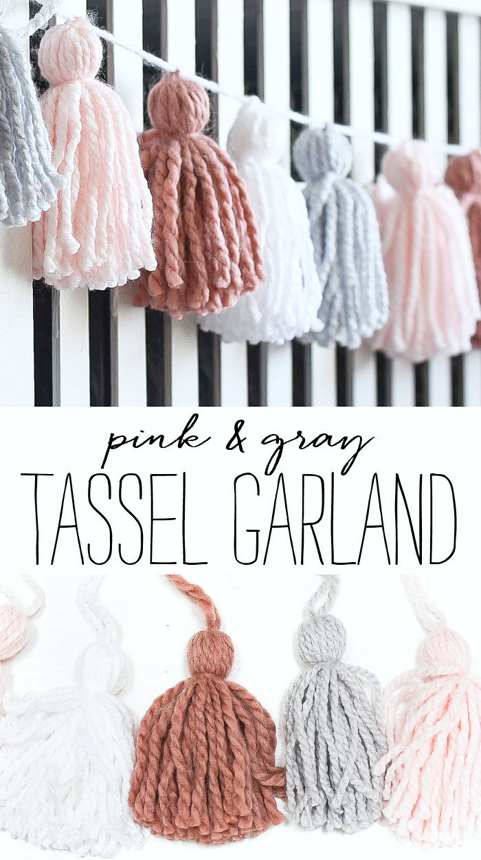 Yarn tassel garland DIY. How to make tassels. How to make garland. Yarn tassel tutorial. Tassel tutorial. Pink, gray garland.