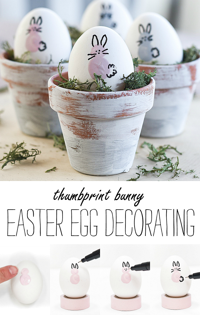 Thumbprint Bunny Easter Eggs. Decorating Eggs with Paint. Easter Egg Decorating Ideas.