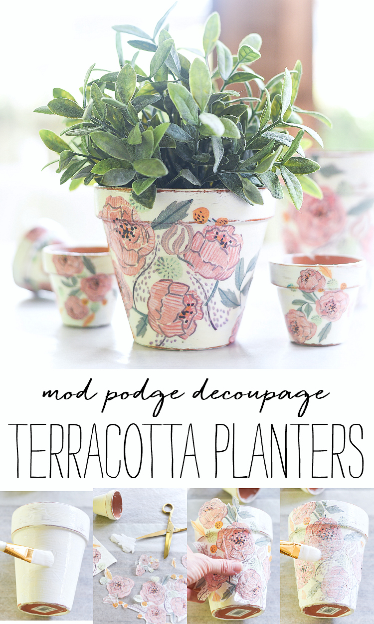 Decoupage terracotta pots. Mod Podge decoupage. How to decoupage planters with Mod Podge and paper napkins. Paper napkin decoupage.