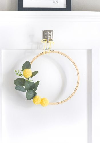Embroidery Hoop Wreath with Faux Billy Ball Pom Poms